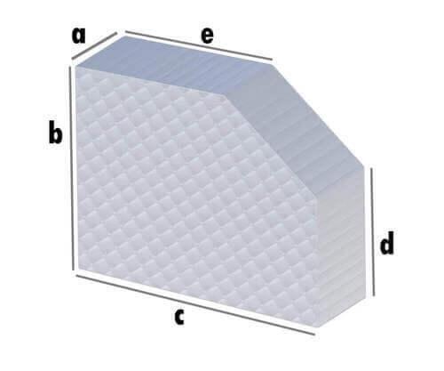 Matratze Rechteck mit Schrägschnitt