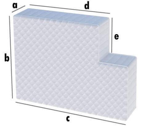Matratze mit einem Eckausschnitt