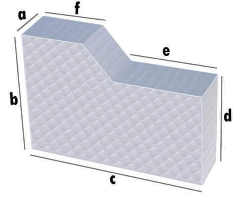 Matratze Rechteck mit kleinem Abschnitt